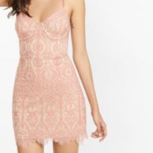 Express nude and pink lace dress